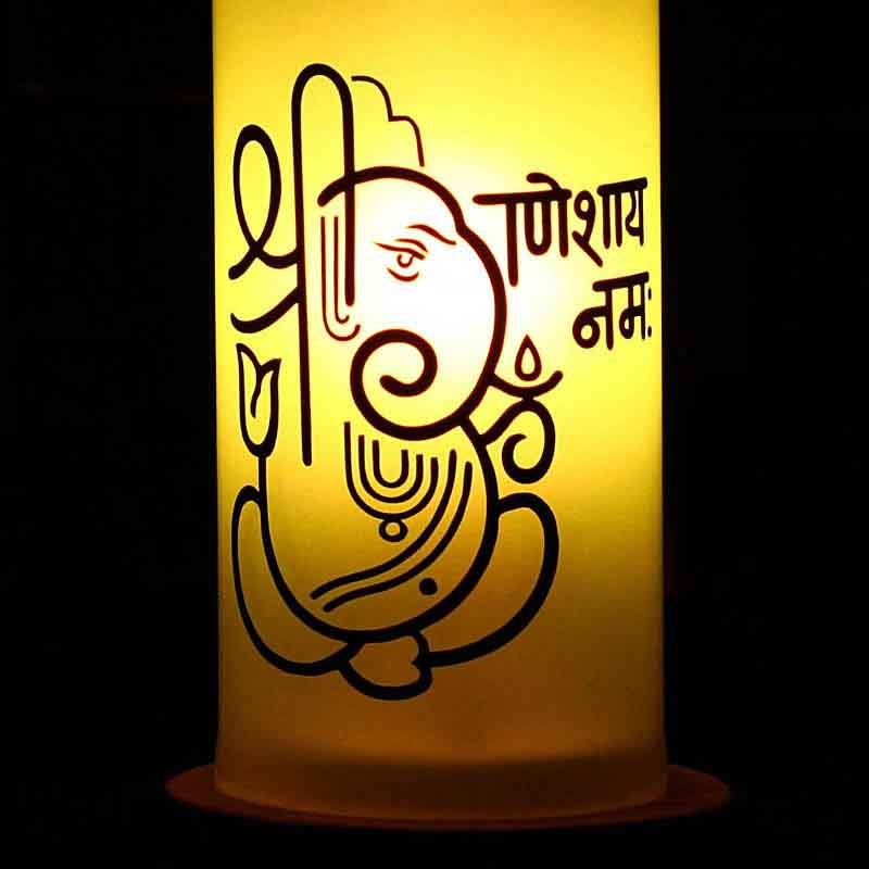 Ganesha Mantra Recycled Bottle Table Lamp