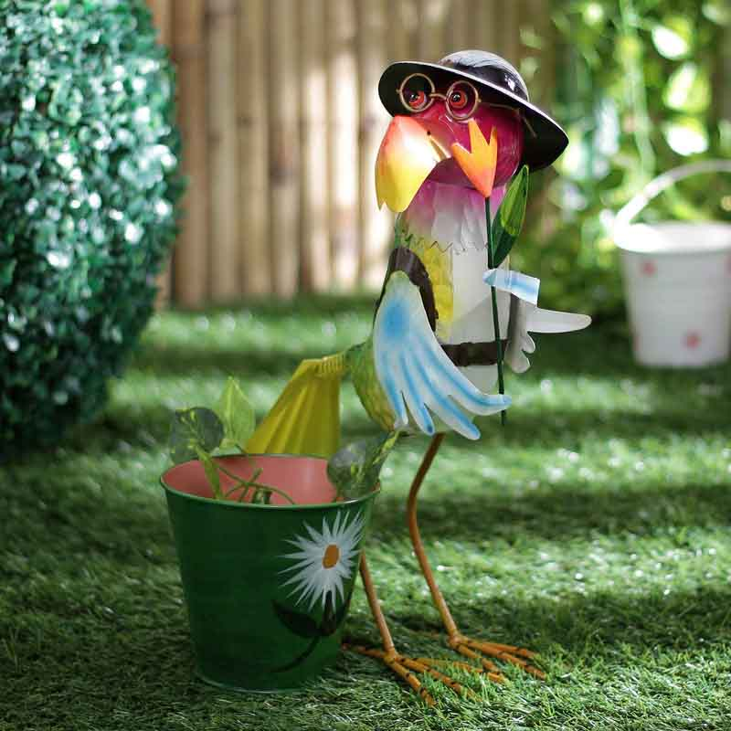 Hen With Hat & Glasses Metal Planter