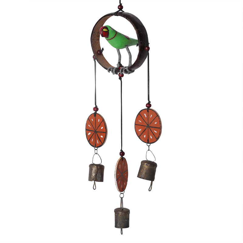Moorni Parrot Collection Wooden Hand Painted Hanging Chime With Bell