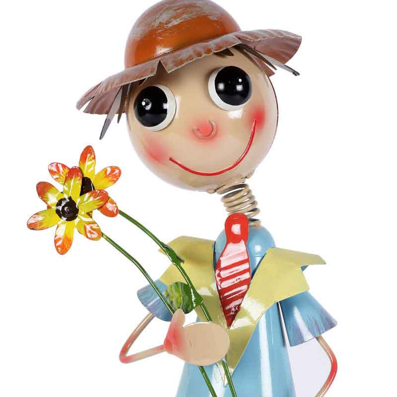 Tall Boy Holding Flowers Metal Planter