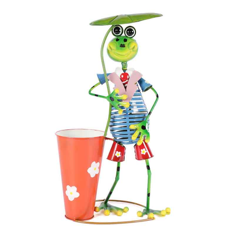 Tall Frog Holding Umbrella Metal Planter