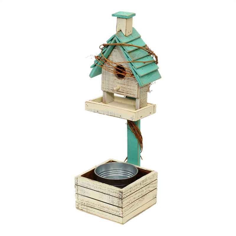 Wooden Bird House With Bucket In Blue
