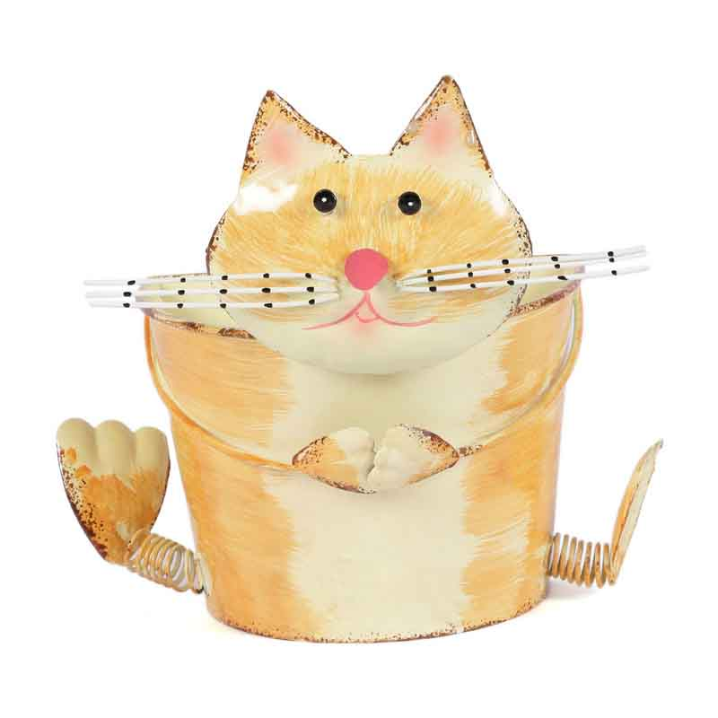 Yellow Cat Metal Planter