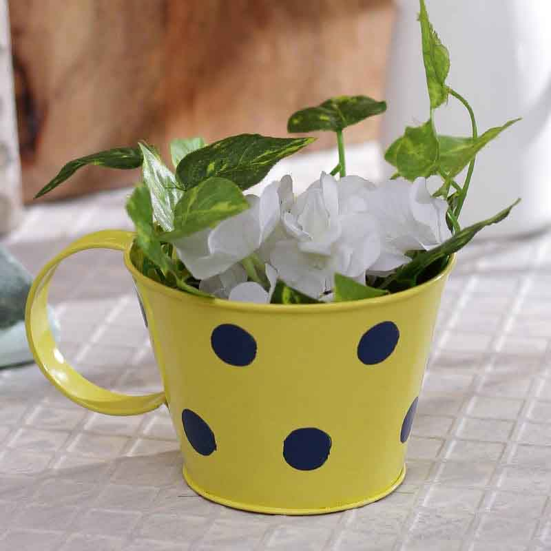 Yellow Polka Dot Cup Shape Planter Pot