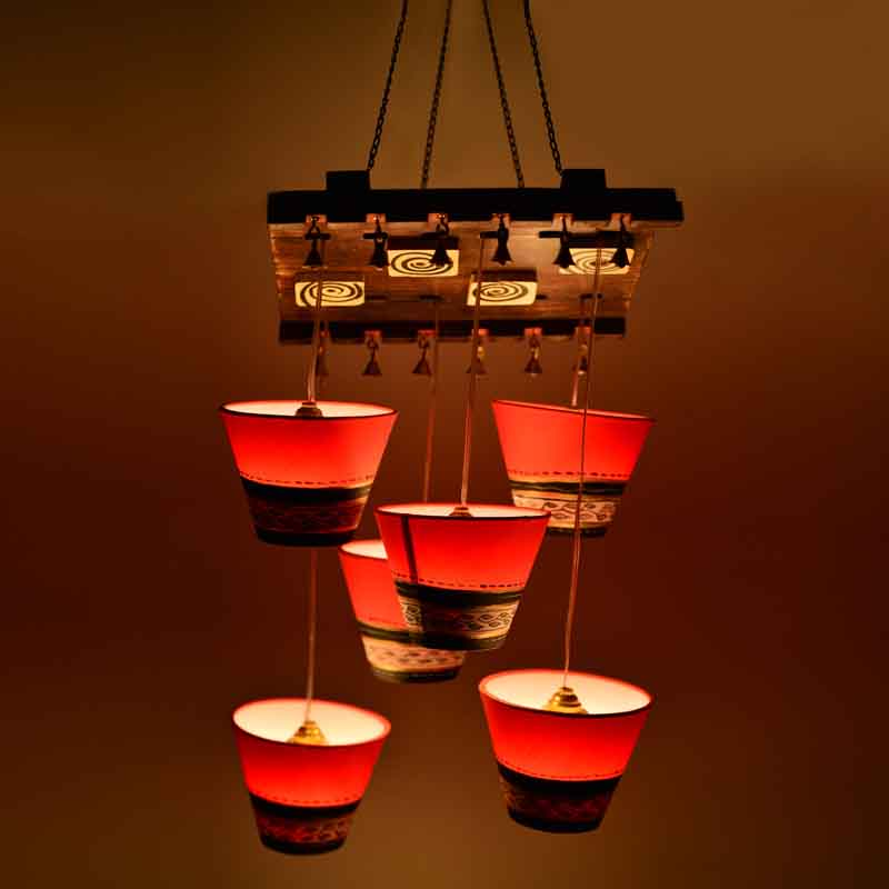 Wooden Hanging Shade Chandlier With Warli Patch Work - EL-003-103