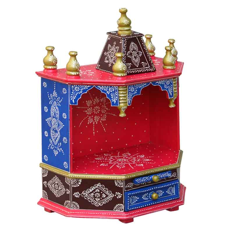 Glow Homes Hand Painted Wooden  Temple se-66+3